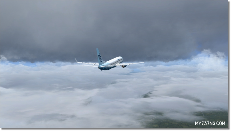 Flying between cloud layers depicted by Active Sky Next.