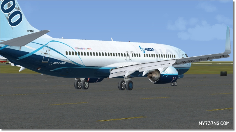 External view of my PMDG 737-800 NGX with full flap extension details.