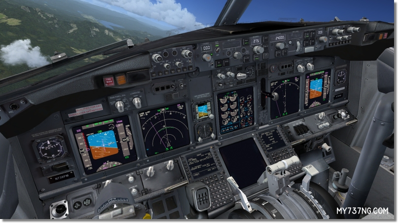 View of the MIP inside my PMDG 737-800 NGX full 3D Virtual Cockpit.