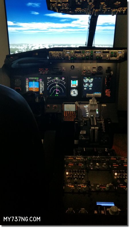 "JetMax SKTQ, CPFlight overhead and pedestal, ProSim737 avionics, 55"" HDTV out the window."