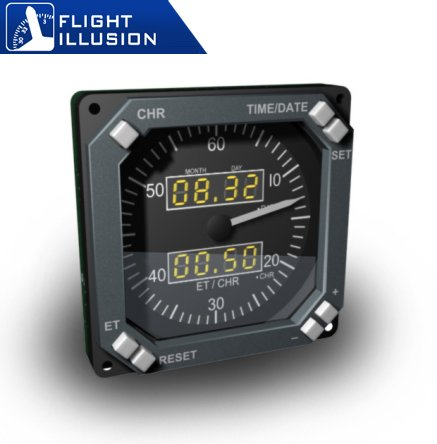 Approximate image of the Flight Illusion GSA-70 Chronometer for a Boeing 737 in grey.