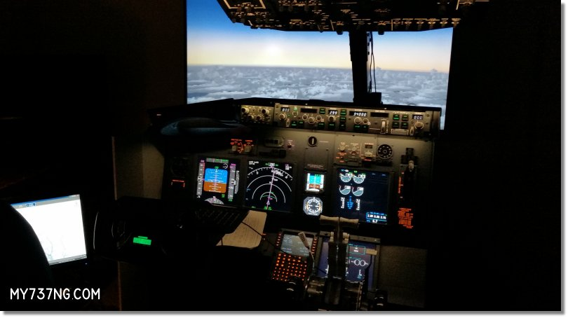 "JetMax MIP/Throttle/CDU. Saitek Pro Flight Yoke. ProSim737 avionics software with touchscreen Instructor Station on the left. CPFlight MCP/EFIS and FWD overhead. 55"" LED HDTV for visuals."