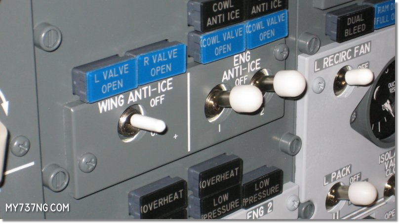 My custom cover on the CPFlight overhead Wing Anti-Ice switch.