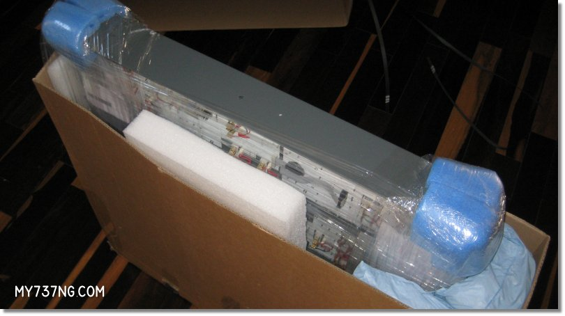 Inside the CPFlight overhead box, with good shipping protection.