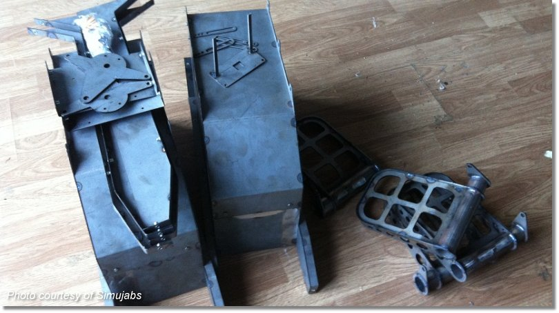During construction: Bare steel welded pieces that make up the Simujabs Rudder Pedals.