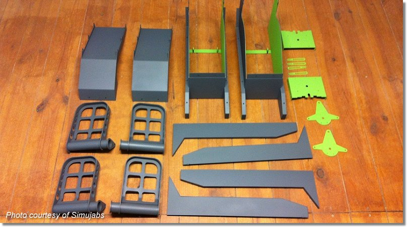 During construction: Finished pieces before assembling the Rudder Pedals by Simujabs.