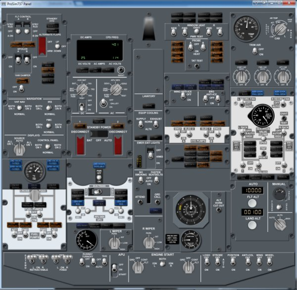 ProSim737's ProSimPanel software. Here displaying the forward overhead panel.