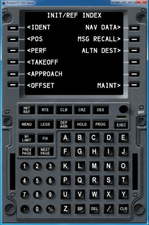 ProSim737's ProSimCDU on-screen software interface.