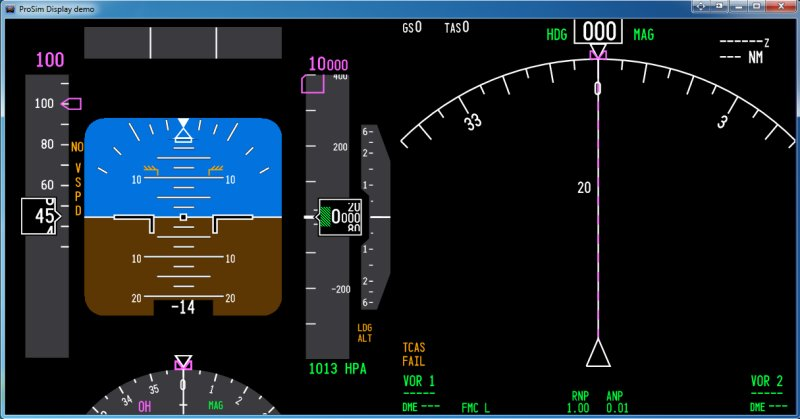 ProSim737's ProSimDisplay software. Here displaying the upper Captain's PFD/ND.