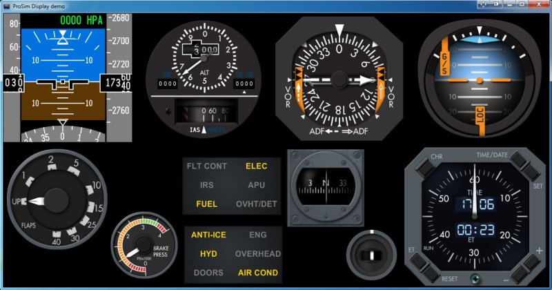 ProSim737's ProSimDisplay software. Here displaying some of the many gauges available to choose from.
