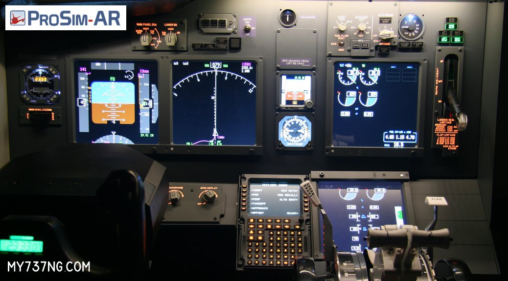 Prosim737 running on a JetMax SKTQ cockpit