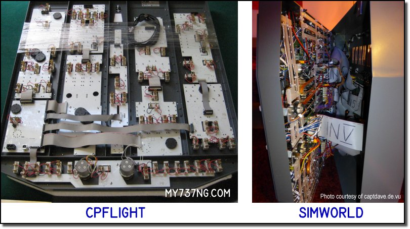 Plug&Play CPFlight and Simworld forward overhead panels behind the scenes.