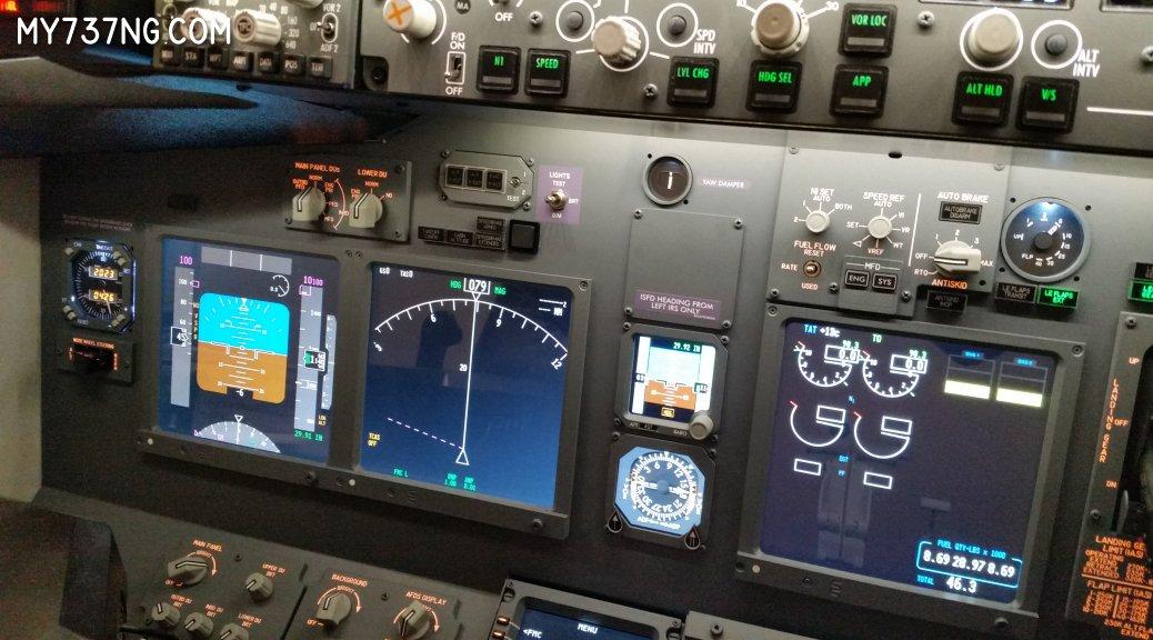 Flight Illusion gauges used i n a JetMax 737 cockpit simulator.