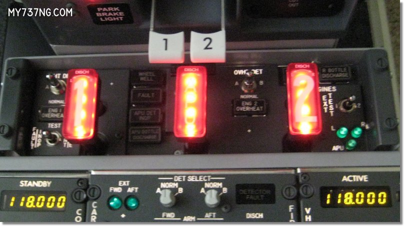 CPFlight 737 fire panel handle lighting test.