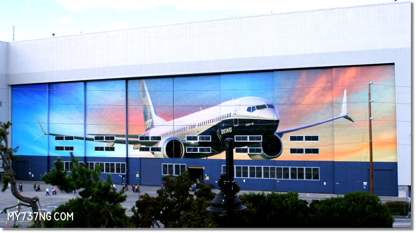 The massive hangar doors at the Boeing Renton factory depicting the new 737 MAX.