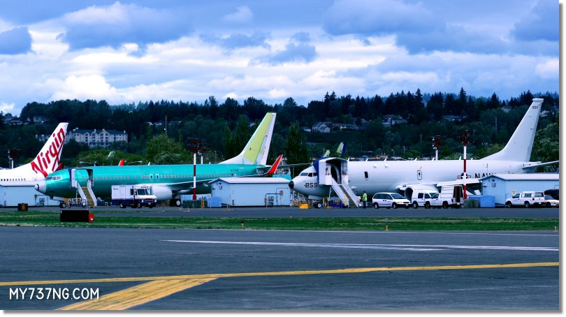 Unpainted 737 and P-8 planes at the Renton airport.