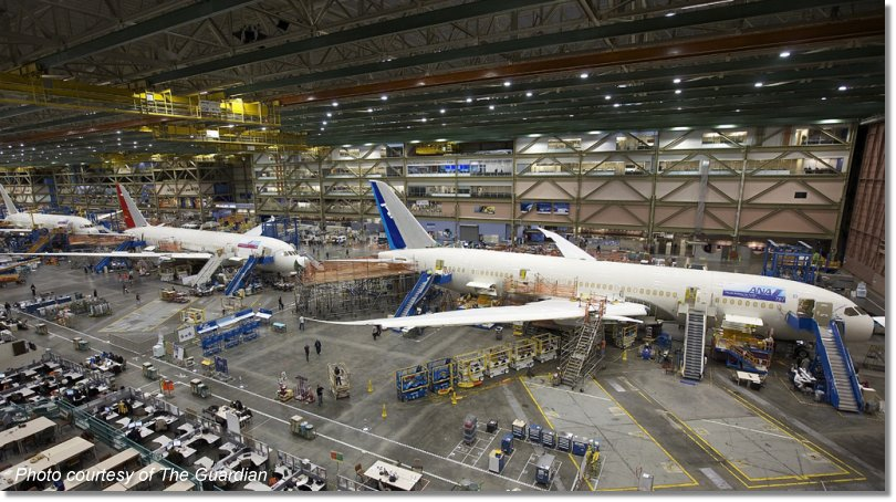 Boeing 787 Dreamliners being constructed.