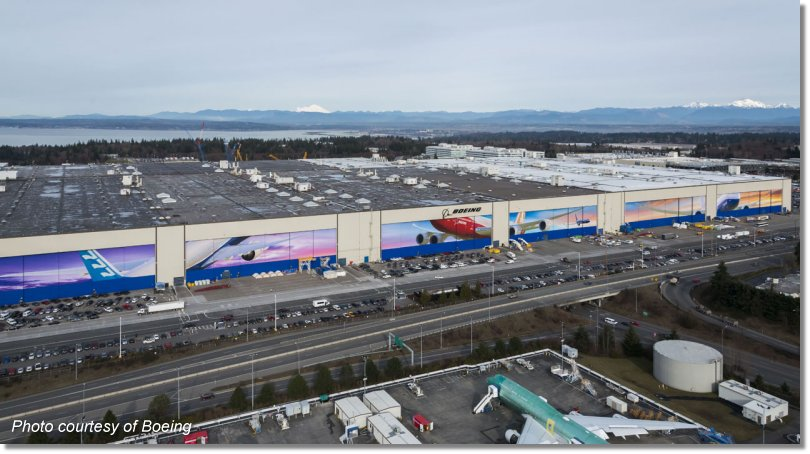 Aerial photo of the expansive Boeing factory in Everett.