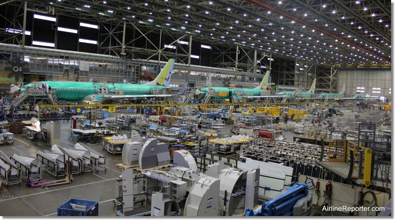 Inside the Boeing Renton factory showing the 737 assembly line.