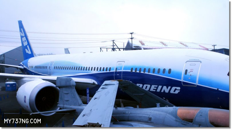 Boeing 787 Dreamliner sitting at the Museum of Flight.