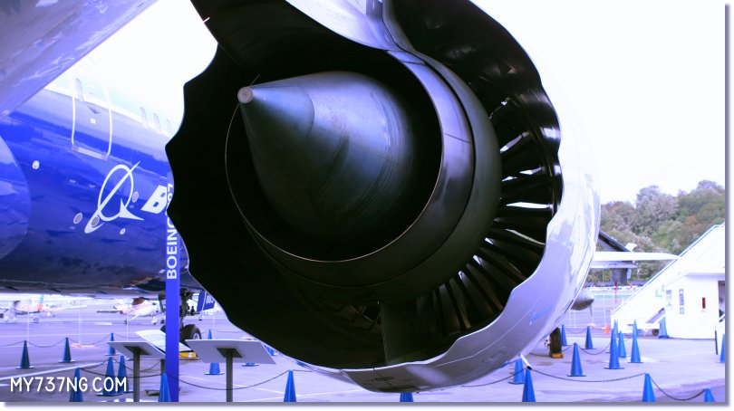 Rear of the Trent 1000 engine on the Boeing 787, note the cowling shape.