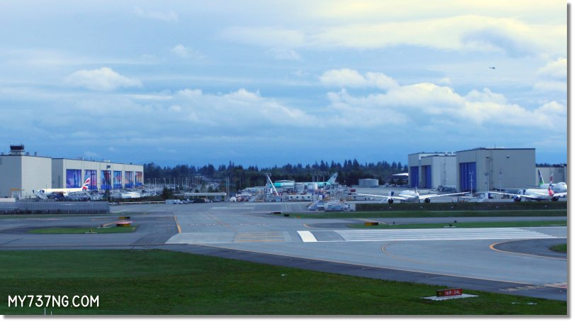 View from the Strato Deck across Paine Field of the Boeing factory in Everett.
