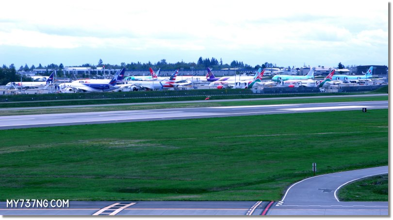 The flight line at the Boeing factory in Everett.