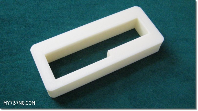 The plastic 3D printed spacer crafted from my SketchUp model.