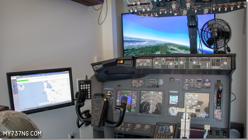 My 737 simulator with hardware controlled fan in place.