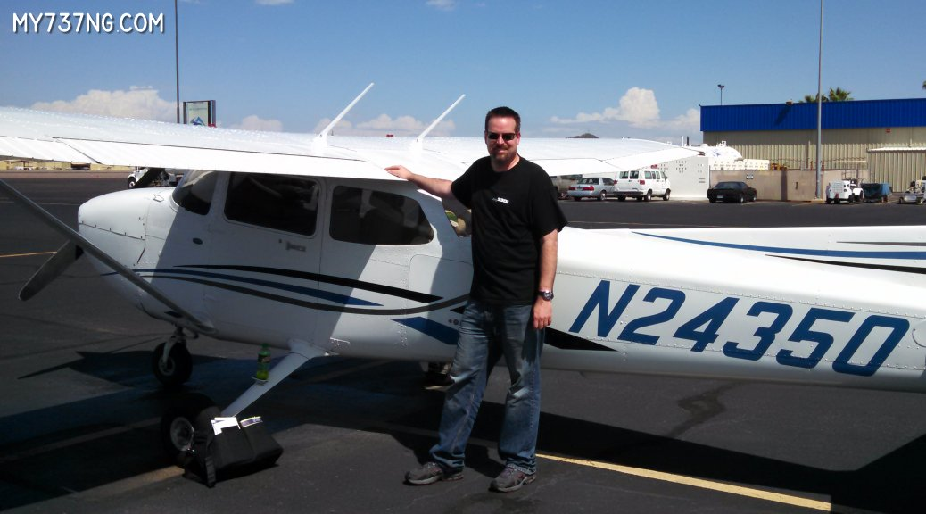 Before my first flight as pilot of a Cessna C172.