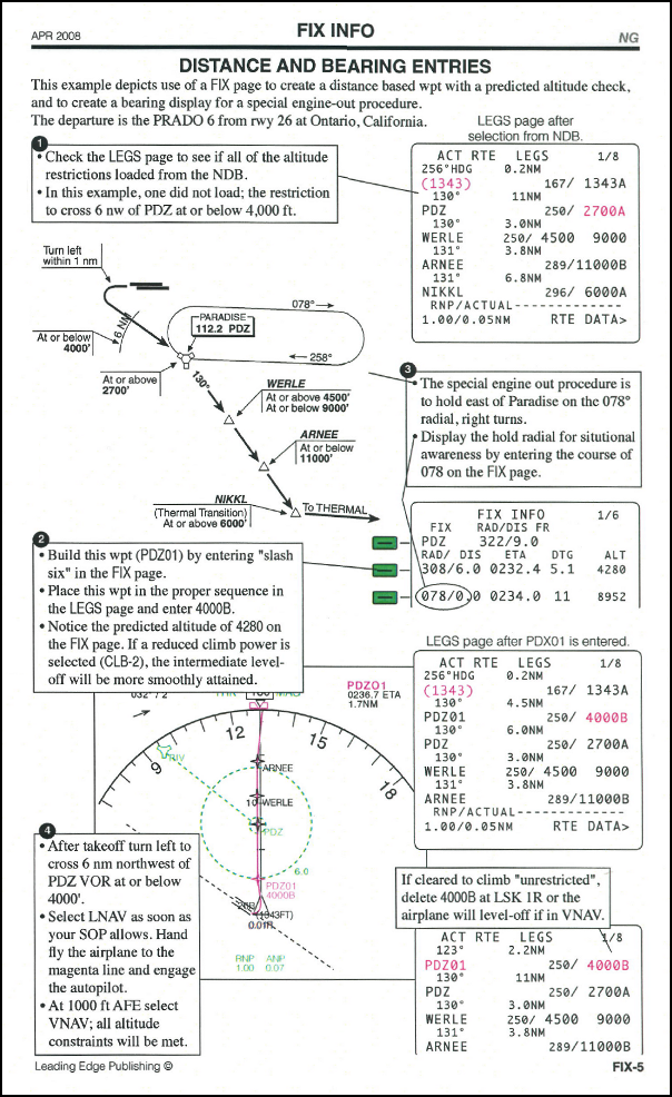 Excerpt from FMC User's Guide detailing fix distance and bearing entries.