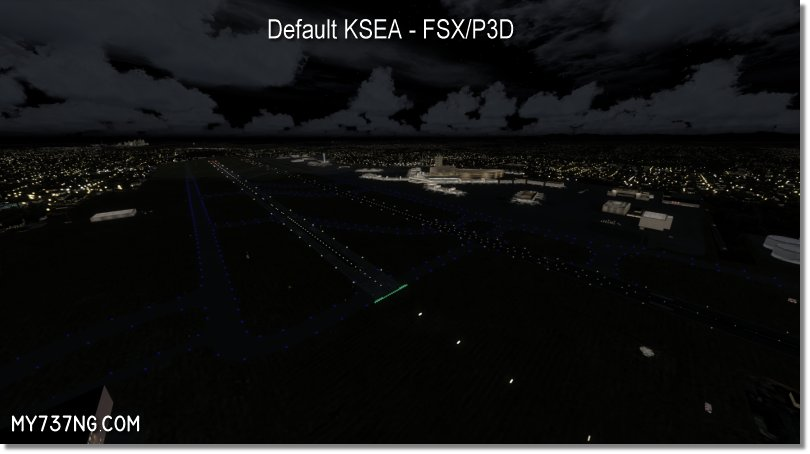 Default night lighting around KSEA in FSX/P3D.