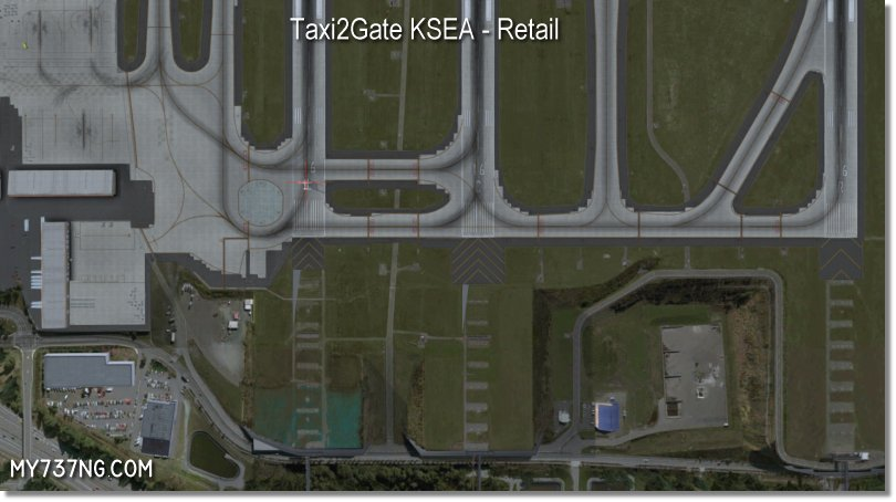 Updated north end of KSEA in FSX/P3D using Taxi2Gate KSEA. See the weird runway end aprons?