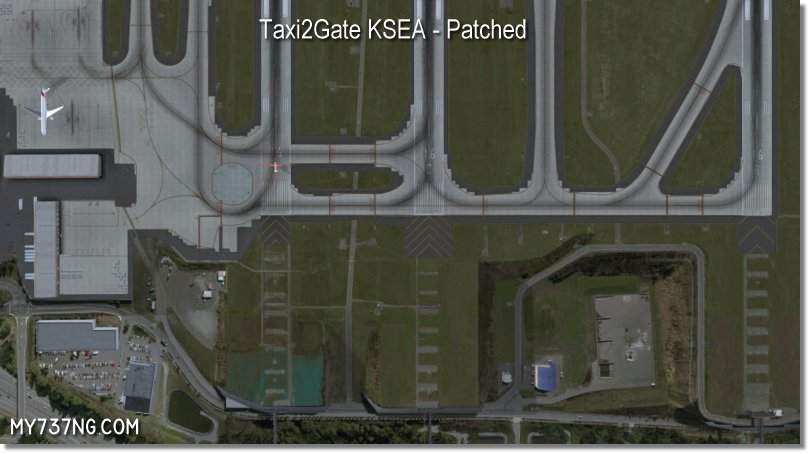 North end of KSEA in FSX/P3D using Taxi2Gate KSEA after patching. Crazy aprons all gone!