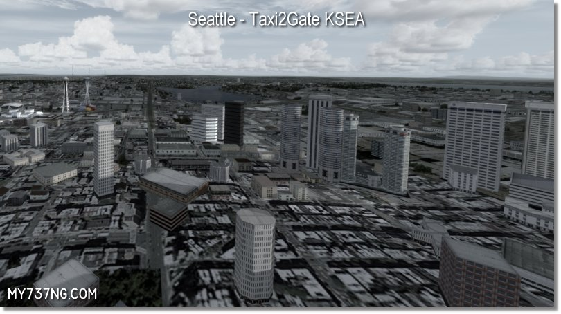 Downtown Seattle with duplicated buildings from Taxi2Gate KSEA.